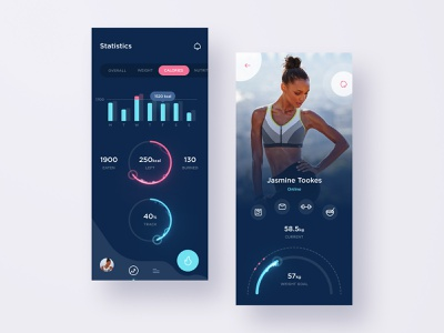 Fitness App activity training dashboard health gym app graphs food weight sharts ux ui dark mode sport mobile gym fitness fit diet dark callories