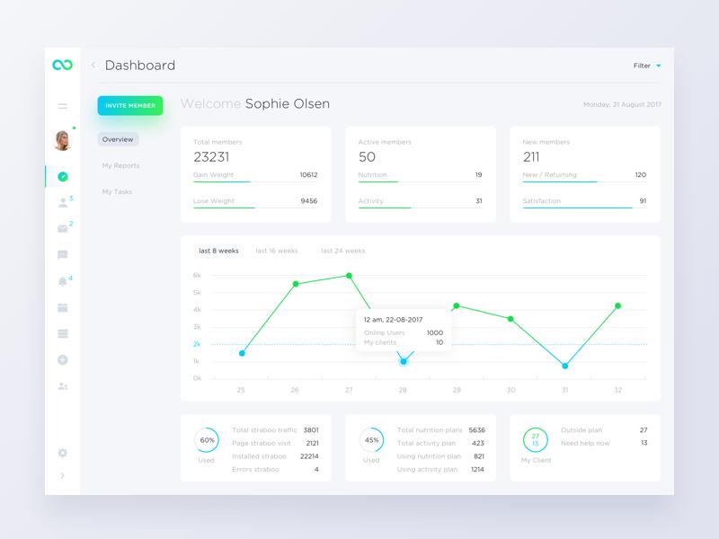 Straboo Dashboard interface bright statistics charts white minimal clean ux ui dashboard webapp