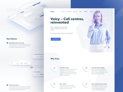Voicy Landing Page ux home page product design interface blue minimal call centre responsive landing clean ui