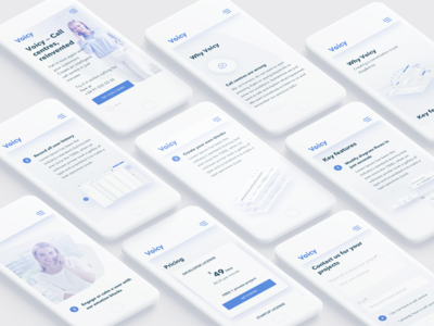 Voicy Mobile ux ui responsive product design minimal mobile interface page home clean call centres
