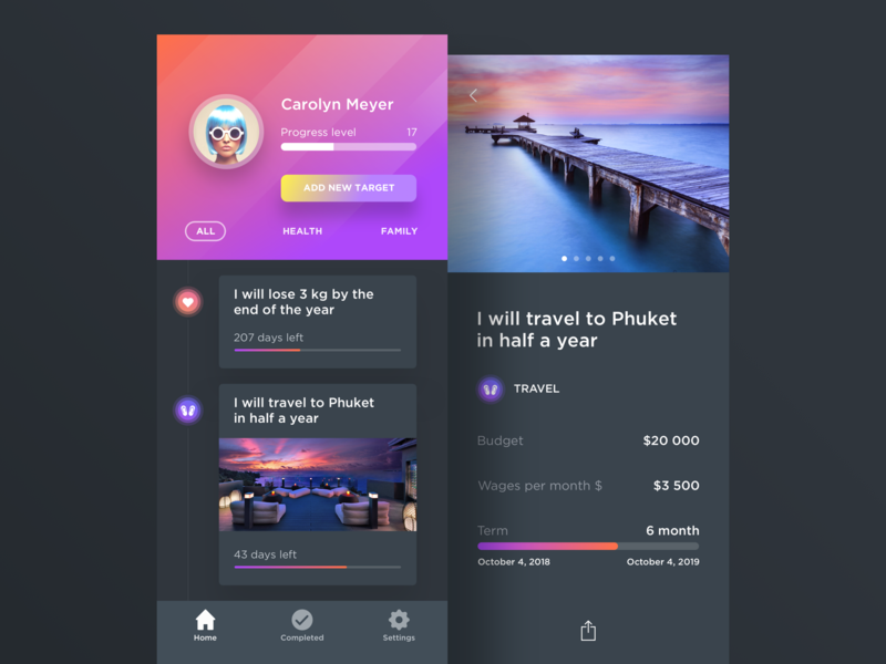 App For Your Targets user profile app inspiration dark interface iphone x mobile minimal ios flat interface clean ux ui