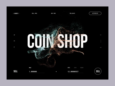 Coin Shop (with audio) ui ux clean interface minimal cryptocurrency webapp webdesign dark cryptocurrency exchange coins shop sell animation motion colors black blockchain