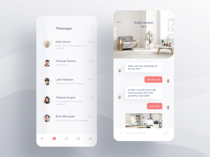 Apartment App — Messenger modern interactive layout nice typography send button navigation tab bar minimal apartments ux ui simple design clean ios design app design mobile interfaces messenger