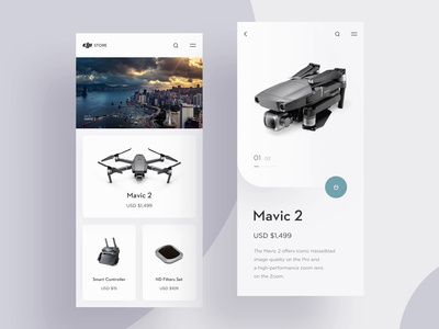 DJI Store Concept (with audio) gleb trends appdesign interface dji application store shopping cart iphone app ui ux modern mobile interfaces interactive ios mp4 layout drone sliders minimalism