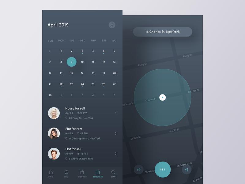 Scheduler App gradient clean interactive iosdesign layout minimal mobile interfaces modern nice typography simple design tab bar ui ux exploration appdesign calendar scheduler map dark