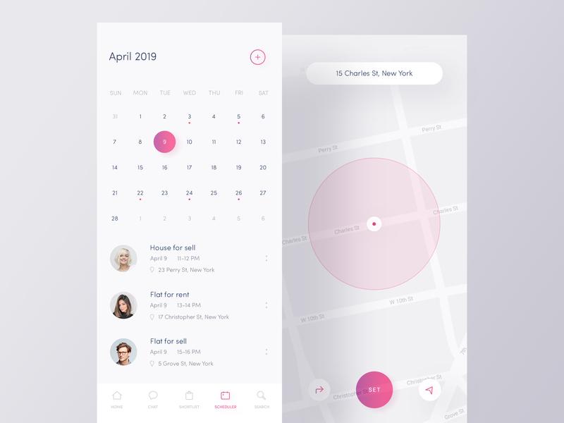 Scheduler App ☀️ Light Mode ☀️ light map scheduler calendar appdesign gradients exploration ux ui tab bar simple design nice typography modern interfaces mobile minimal layout iosdesign interactive clean