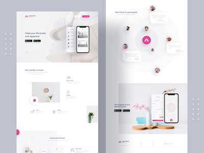 Landing Page For Appartner App landing page design flat apartment rent gradient mockups product design style guide website mainpage home page layout landing page inspiration minimal interface clean ux ui