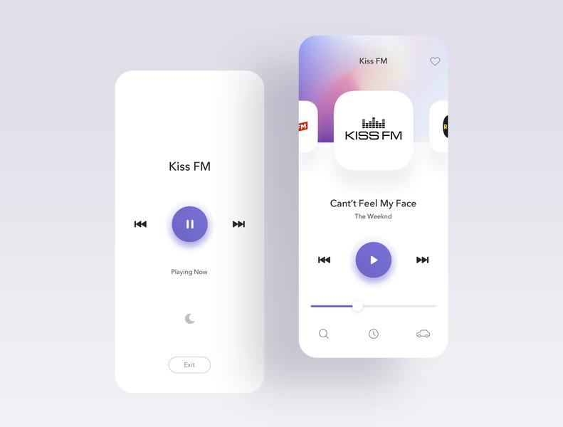 Radio Player minimal navigation interface web typography app mobile layout player radio clean ui design ux ui