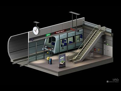 Copenhagen Metro Station subway station train lopoco render 3d blender low-poly lowpoly metro copenhagen