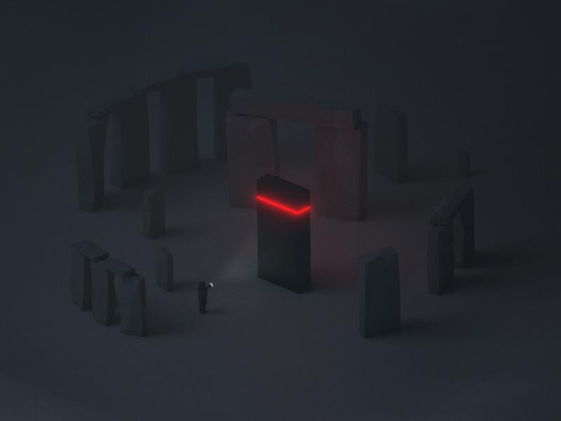 M O N O L I T H torch dark shadow encounter alien stone henge monolith b3d blender lowpoly low-poly