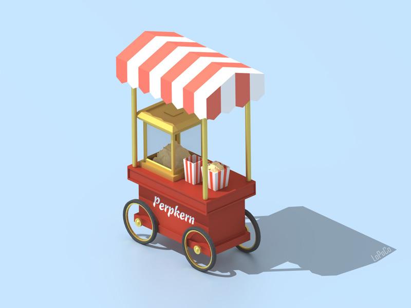 Perpkern cinema blender 3d isometric cart popcorn low poly lowpoly