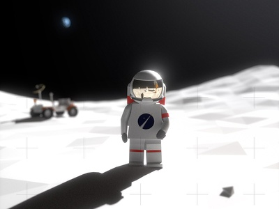 One Small Step for a LegoMan rover 3d landing armstrong blender low poly apollo lunar moon astronaut space lego