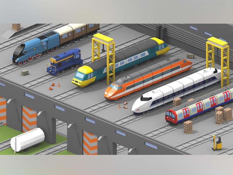Train Depot Concept tube mallard shinkansen tgv railway depot train isometric 3d low poly lowpoly