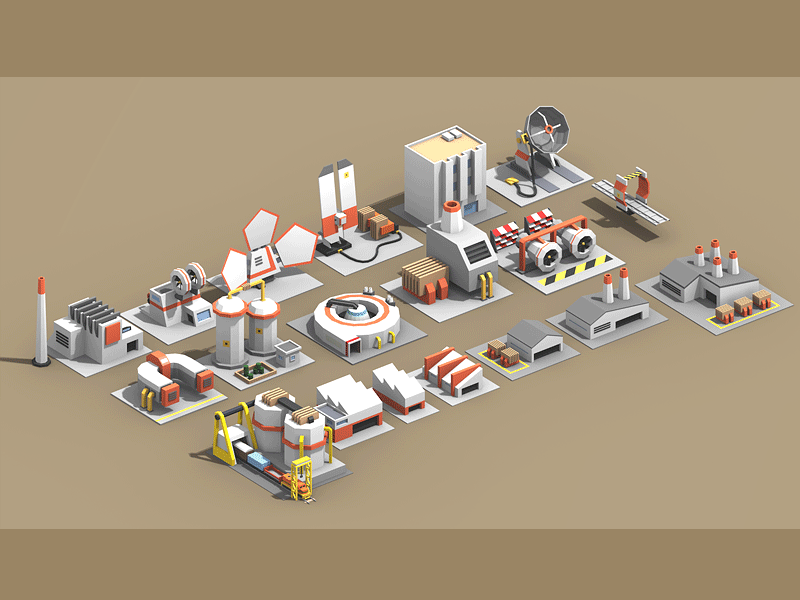 Quasi-Futuristic Industrial Low-Poly radar futuristic factory industrial railway depot train isometric 3d low poly lowpoly