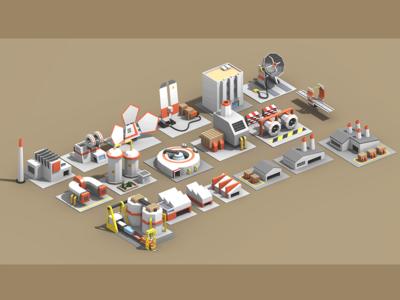 Quasi-Futuristic Industrial Low-Poly