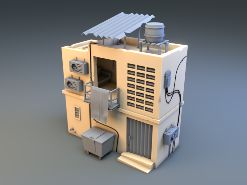 Jalan Telawi Backstreet 1 air con cloth house shack machinery industrial resin kit plastic jalan telawi malaysia kuala lumpur building architecture low poly render 3d low-poly blender lowpoly