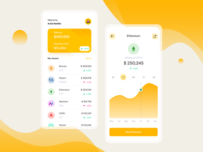 Cryptocurrency App ux ui design app crypto coin
