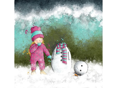 Snow fun #2 watercolour illustration snow snowman winter greeting card greeting card design kids illustration character design book illustration procreate digitalart illustration digital illustration