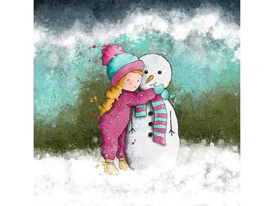 Snow fun #1 watercolour illustration snow snowman winter greeting card greeting card design kids illustration character design book illustration procreate digitalart illustration digital illustration