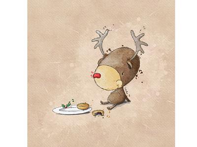 Who ate all the pies? reindeer christmas card christmas animal illustration greeting card greeting card design kids illustration character design book illustration procreate digitalart illustration digital illustration
