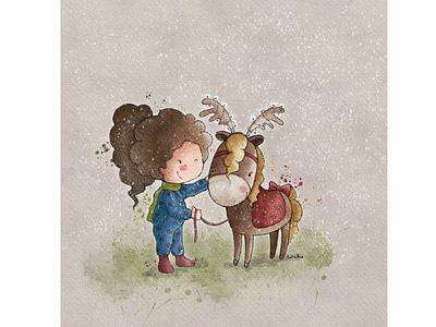 Christmas Pony christmas watercolour illustration cute animals pony christmas card animal illustration greeting card greeting card design kids illustration character design book illustration procreate digitalart illustration digital illustration