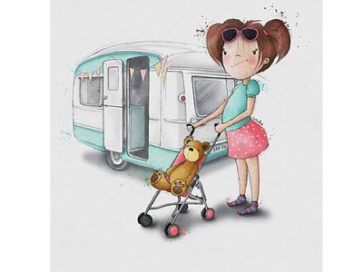 Little Em toddler holidays caravan watercolour illustration greeting card design kids illustration character design book illustration procreate digitalart illustration digital illustration