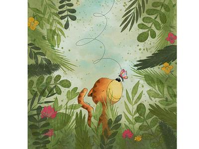 Jungle vibes tiger jungle kids illustration character design book illustration procreate digitalart illustration digital illustration