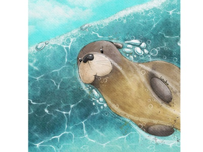 Photo bombing underwater bubbles otter design kids illustration character design book illustration procreate digitalart illustration digital illustration