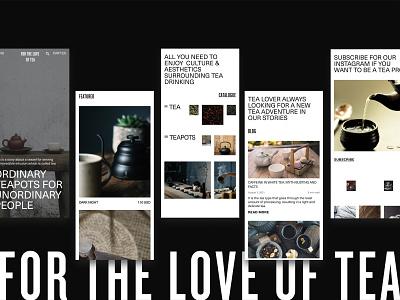 For the Love of Tea tea teapots online store main page mobile shop design webdesign ui e-commerce
