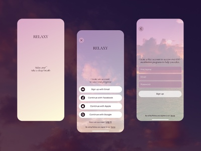 Relaxy | Daily UI 001 | Sign Up first screen relax registration dailyui001 mobile application app log in sign up meditation ui dailyui