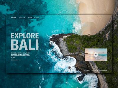 Intravel | Home screen concept tourism tours bali travel agency travel home screen first screen design webdesign ui