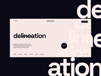 Delineation | Creative agency black pink main screen first screen dailyui design webdesign ui