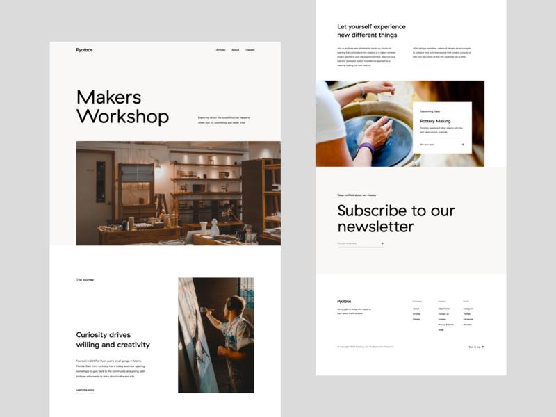 Makers Workshop - Concept I typography layout whitespace landing page web design website design website course crafts minimal workshop makers ui