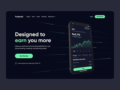 Stock App - Hero Section Exploration hero trading investment stock website design web web design chart dark website landing page ui