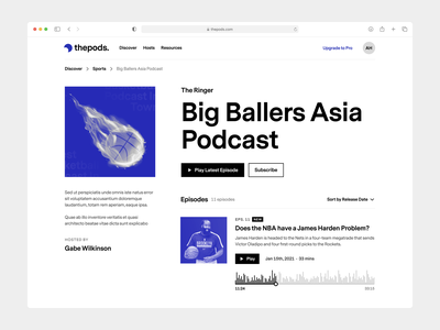Podcast Platform - UI Concept #1 play audio player minimal podcasting podcasts podcast web design website design website ui
