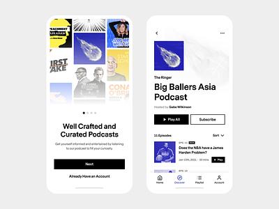 Podcast Platform App - UI Concept #3 mobile application mobile app design mobile app mobile onboarding audio podcasting podcasts podcast app minimal ui