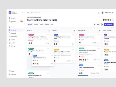 Kanban View Concept productivity team management web design tasks task kanban app minimal dashboard website ui