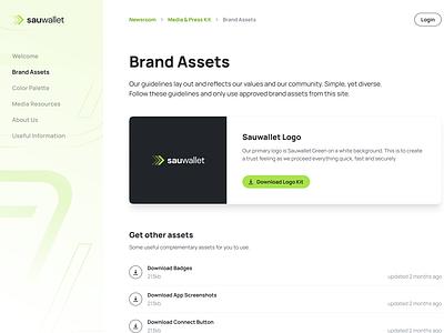 Sauwallet - Subpages press media kit assets testimonial exchange blockchain wallet nft crypto website design web design website ui