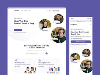 Podfasts - Landing Page minimal player audio podcast podcasting podcasts landing page marketing website website design web design web website ui