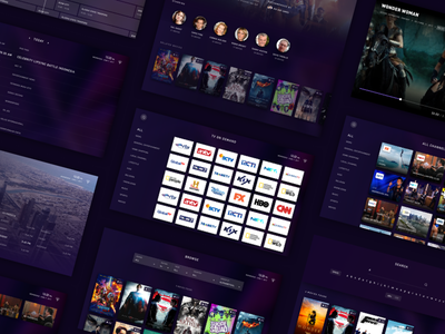 Marble Interactive TV App - Preview study case interaction animation gif channel movie interactive dark application tv ux