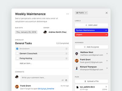 Project Management App - Card Details modal dashboard task popup project management