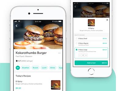 Buy a Food order cart food restaurant app clean browse minimal