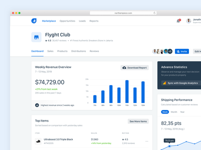 Marketplace Dashboard Concept minimal dashboard sales chart marketplace graph finance