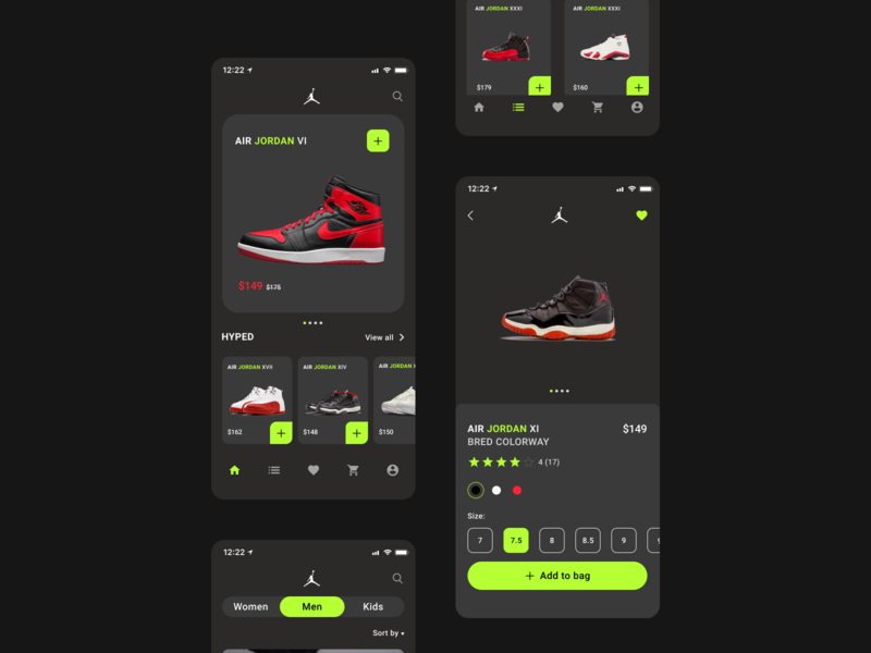 Sneakers Online store - Mobile App iphone x air jordan jordan app concept sneakers typography ux illustration app design app minimal web icon branding design