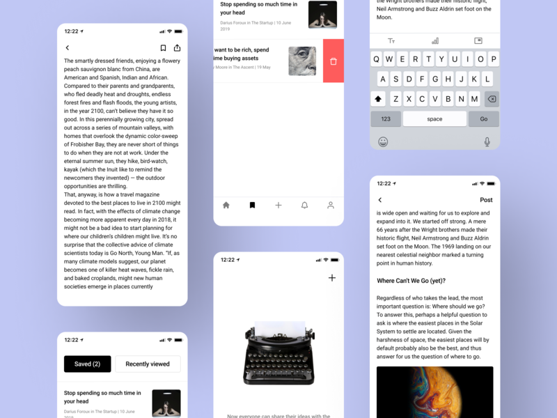 News web app social media media storyboard blog article minimal iphone x typography ux ui app concept web app design