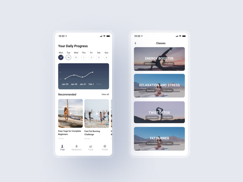 Yoga & Meditation App relaxing lifestyle design mobile ux ui calm motivation meditation exercise yoga app