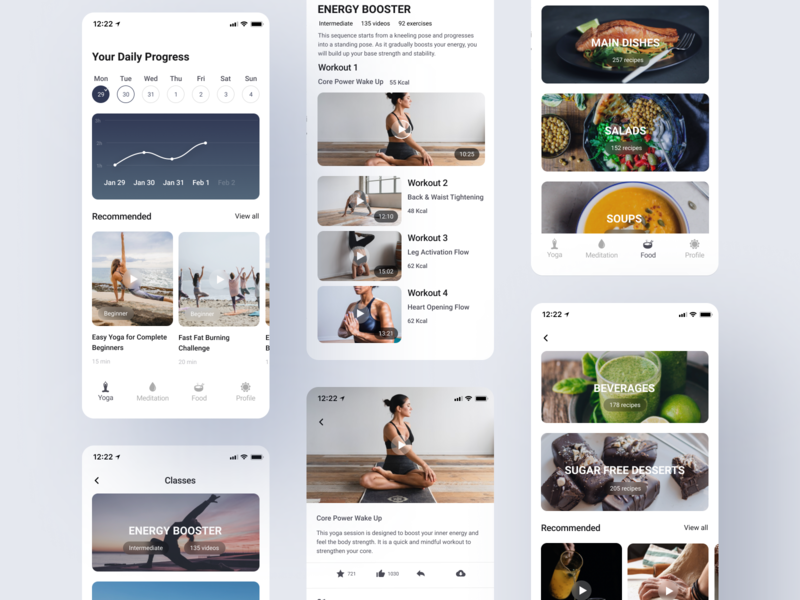 Yoga & Meditation App food app meditation meditation app yoga pose yoga app app design illustration typography iphone x design web app concept ux minimal ui