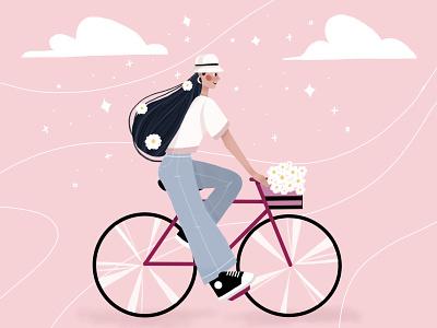Bike lady sports design character children book illustration vectorart illustraion digital painting digital art digital illustration graphic design characterdesign artwork art vector challenge childrens illustration illustration art