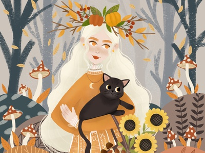 Autumn vibes character design digital illustration digital art character challenge dtiys childrens illustration design illustration art illustration