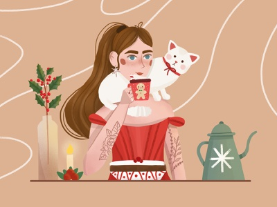 Girl with cat girl illustration character design vector art character vector illustration digital illustration digital art design illustration art illustration